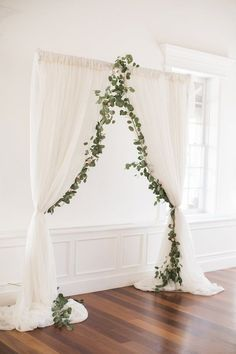 White wedding ceremony decor with greenery - Brooke Images. Glamour And Feminine Details For A Beautiful Pastel Wedding. Rustic wedding decorations#wedding #decor #weddingdecorations #weddings #weddinginspiration #weddingideas #rusticwedding #weddingdecor