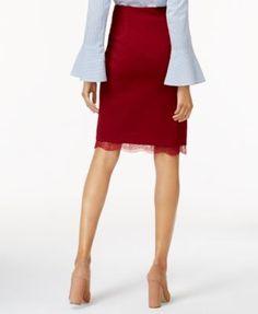 Olivia & Grace Lace-Hem Pencil Skirt, Created for Macy's - Black XS