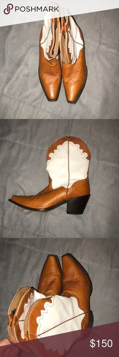 Cowboy boots Basically brand new!  Only worn a few times. Comes from smoke free home.  Orange and white cowboy boots. USA 10. Real leather. Shoes