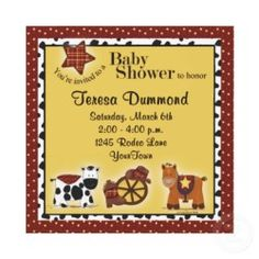 Very Cute Western Baby Shower Invitations
