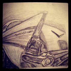 Old car drawing Belair pencil drawing