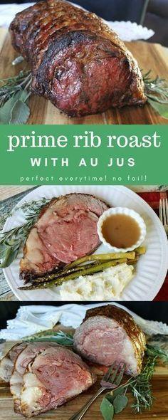 Prime Rib Roast Au Jus Perfect Every Time! No Fail Your new go-to prime rib roast recipe with au jus! It's perfect every time, no fail! Rib Recipes, Roast Recipes, Dinner Recipes, Cooking Recipes, Healthy Recipes, Cooking Ribs, Cooking Courses, Cooking Corn, Game Recipes