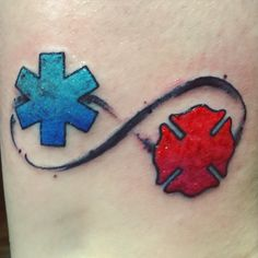 Star of life and Maltese cross tattoo symbolizing my love of volunteering.