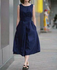 ワンピース・ドレス - 亜麻・コットン素材使いウエスト後ろにリボン飾り無地ノースリーブワンピース