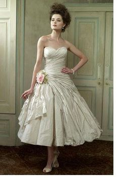 Bourbon Strapless Tea Length Wedding Gown Available In Rose Pink From Killer Queen Collection By Ian Stuart