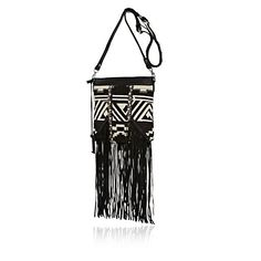 Go nomadic with your accessories with this monochrome tapestry cross body bag. Featuring long leather fringing and removable cross body strap. River Island Fashion, Latest Clothing Trends, Leather Fringe, Tribal Prints, Clothes For Women, Clothes Sale, Cross Body, Purses And Bags, Boy Or Girl