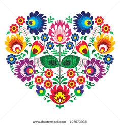 Polish olk art art heart embroidery with flowers - wzory lowickie by RedKoala #wycinanka