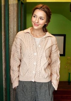 "Alexi Classic Cabled Jacket Free Knit Pattern. A classic Aran cardigan knit in Vintage. Skill Level: Intermediate to Advanced Knitting Stitch: Cable, Aran Knitting SIZES Directions are for women's size X-Small. Changes for sizes Small, Medium, Large, X-Large and XX-Large are in parentheses. FINISHED MEASUREMENTS Bust (closed) - 34(38-42-46-50-54)"" Length – 21½(21½-22½-23-24-24½)"" Note: This garment was designed with a slightly oversized fit. Please take this into consideration when…"