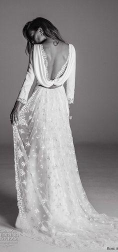 Rime Arodaky Fall 2017 cap sleeves illusion bohemian wedding dresses