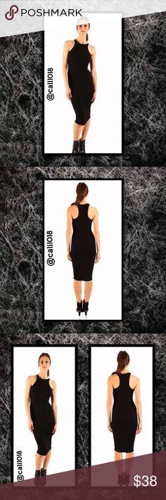 "Recall Midi Dress Bodycon Racerback Ribbed Brand new black ""Recall Midi Dress""  Material Content: Ribbed, 88% Tencel 12% Spandex  Made in the U.S.A  Sizes Avail: Medium & Large  Ribbed knit racerback midi dress  Glam Squad 2 You Dresses Midi"