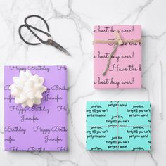 White Wrapping Paper, Gift Wrapping Paper, Birthday Gift Wrapping, Birthday Gifts, Baby Shower Wrapping, Happy Birth, Matching Gifts, Unique Gifts For Her, Christmas Gifts For Her