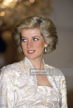 Princess Diana Smiling As She Attends A Dinner In Paris She Is... News Photo | Getty Images