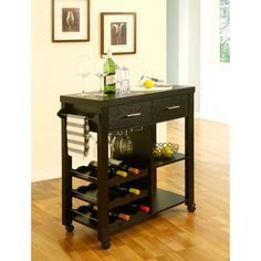 Furniture of America Brown Wood Veneer Base with Wood Top Kitchen Cart x x at Lowe's. Make the most of your dining space with this cappuccino finish mobile bar cart. This multi-storage piece features 3 wine storage shelves, 2 drawers, wine Kitchen Tops, New Kitchen, Kitchen Decor, Kitchen Ideas, Kitchen Dining, Kitchen Carts, Basic Kitchen, Cafe Bar, Apartment Bar