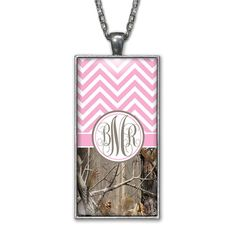 Pink Chevron Camo Monogram Pendant Charm Necklace Personalized Country Girl Silver Jewelry