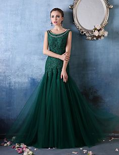 2017 New Arrival Women Long Mermaid Evening Dresses O-Neck Sleeveless Appliques Pearls \Party Evening Gown Evening Dresses Online, Cheap Evening Dresses, Mermaid Evening Dresses, Evening Gowns, Formal Dresses, Disney Prom Dresses, Tulle Dress, Dream Dress, Special Occasion Dresses