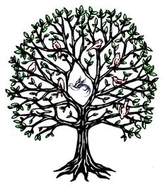 tree of life with sparrow, to be inside enso/river of life