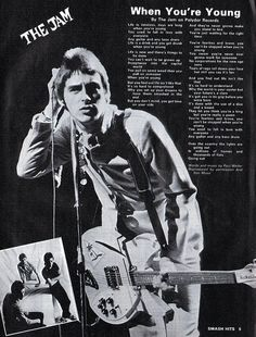 Paul Weller of The Jam. Music Jam, 70s Music, Music Icon, Young Lyric, The Style Council, 70s Punk, Band Posters, Music Posters, Paul Weller