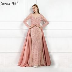 Cheap robe de soiree, Buy Quality mermaid evening dress directly from China evening gown Suppliers: Luxury Pink Mermaid Evening Dresses Attachable Train Long Sleeves Beading Crystal Sparkly Evening Gown 2018 Real Photo Long Sleeve Evening Dresses, Evening Dresses Plus Size, Prom Dresses With Sleeves, Mermaid Evening Dresses, Evening Gowns, Nice Dresses, Dress Long, Formal Dresses, Prom Party Dresses