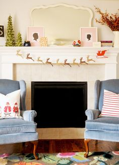 String this Santa sleigh + reindeer garland from your Christmas mantel.