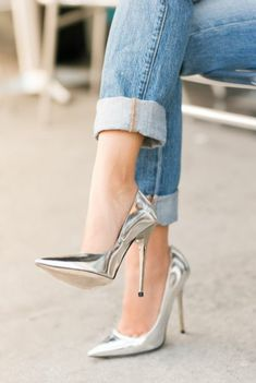 Metallic silver pumps. yes.