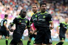 Diego Costa celebrates his equalising goal for Chelsea against Swansea