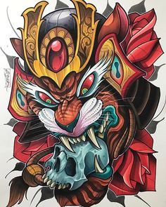 This is a 12 x 16 illustration done by David Tevenal. Mixed media on watercolor paper. This will ship securely and to destinations in the United St. Japanese Tattoo Art, Japanese Tattoo Designs, Japanese Art, Sketch Tattoo Design, Tattoo Sketches, Tattoo Drawings, Kunst Tattoos, Body Art Tattoos, Small Tattoos