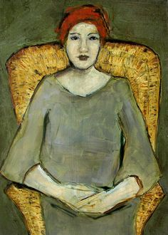 "Colette W. Davis, Oil on Panel, ""THE WICKER CHAIR"""