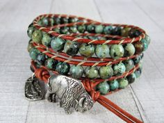 Turquoise Wrap Bracelet for Men - Gemstone and Leather Triple Wrap Bracelet - Turquoise Bracelet - Gift for Her or Him Beaded Wrap Bracelets, Bracelets For Men, Bohemian Jewelry, Bohemian Style, Triple Wrap, Pink Gemstones, Bracelet Designs, Leather Jewelry, Turquoise Bracelet