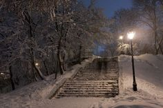 park-covered-with-snow-at-night.