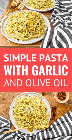 Pasta with Olive Oil and Garlic -- this classic garlic and olive oil pasta (aka Pasta Aglio e Olio) is easy enough for weeknight meals but classy enough for a date night or entertaining guests! Especially when served with freshly grated Parmesan cheese. Pasta Sauce Olives, Olive Oil Pasta Sauce, Garlic Olive Oil Pasta, Butter Sauce For Pasta, Pasta With Olives, Easy Pasta Sauce, Pasta Sauce Recipes, Healthy Pasta Recipes, Cooking Recipes