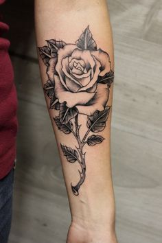 Rose Tattoo by Iñaki Beaskoa at Siha Tattoo Dope Tattoos, Hand Tattoos, Rose Vine Tattoos, Tribal Rose Tattoos, Rose Tattoo Forearm, Pretty Tattoos, Flower Tattoos, Body Art Tattoos, Girl Tattoos