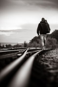 life is a journey. travel and go wherever it takes you Photography Poses For Men, Creative Photography, Street Photography, Art Photography, Alone Boy Photography, Loneliness Photography, Railroad Photography, Black White Photos, Black And White Photography