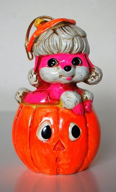 Vintage Halloween Chalkware Pumpkin and Puppy by SprinklesInTime, $16.00