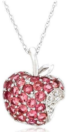 Pink tourmaline apple pendant with diamond accent