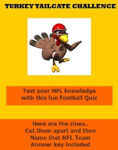 Thanksgiving game.. free printable.. Turkey Tailgate Challenge..  fun for the whole family!