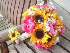 Sunflower and Pink Peony Silk Bridal Bouquet / Rustic by mtfloral