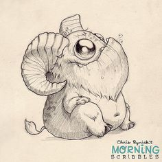 This critter needs a name. Hoofy? Hornsicle? Robert? Goat-bot 2000? #morningscribbles | Flickr - Photo Sharing!