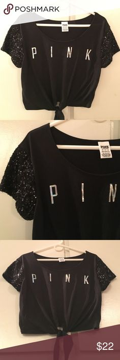 Victoria's Secret PINK Black Sequin Loose Top Tie VICTORIA'S SECRET PINK Logo Front Loose Fit, T-Shirt Sequins Bling Blouse Size: X-Small (Runs large, shirt supposed to fit very loose) Black Sequins on sleeves, PINK logo in metallic color, super cute comfy look and feel. PINK Victoria's Secret Tops Tees - Short Sleeve