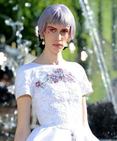 Lilac-grey hair on the Chanel Resort runway.