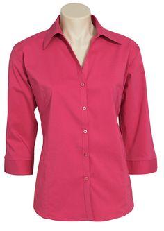 Code: BCLB7300 Name: Ladies Metro 3/4 Sleeve Shirt BCLB7300 Size: 18 | 20 | 26 | 14 | 16 | 6 | 10 | 12 | 22 | 24 | 8 Available Colours: Fuchsia | Mid Blue | Sky