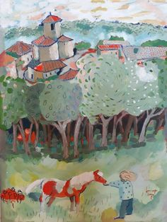 Feeding the pony at Lacour, France Gouache, Pony, Africa, Paintings, France, Cards, Pony Horse, Paint, Painting Art
