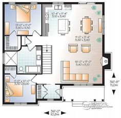 1st level Transitional Bungalow house plan with open floor plan, large fireplace, kitchen island, large bathroom - Bradley 2