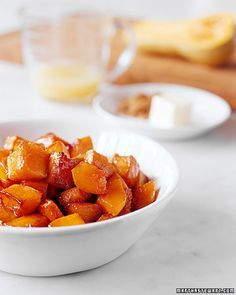 Butternut Squash with Brown Butter   Martha Stewart Living - Nutty brown butter adds a rich dimension to tender pan-roasted cubes of butternut squash.