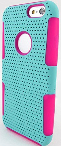 """myLife 2 Layer Neo Hybrid Bumper Case for iPhone 6 Plus (5.5"""" Inch) by Apple {Neon Pink + Tiffany Blue """"Perforated Mesh Net"""" Two Piece SECURE-Fit Rubberized Gel} myLife Brand Products http://www.amazon.com/dp/B00PT2FYTQ/ref=cm_sw_r_pi_dp_2d2Cub1FWSY9Y"""