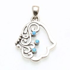 925 Sterling Silver Filigree Hamsa Turquoise Oxidized Pendant