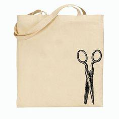 Canvas tote bag. Vintage scissor illustration—so great! $8 #scissors #accessories #handbags #totes #illustration