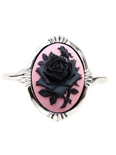 """Bridal Black Rose"" Cameo Bracelet by Couture By Lolita #InkedShop #cameo #rose #bracelet #jewelry"