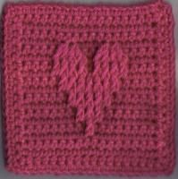 "Cabled Lines Heart Square (6""x6"" inches) - Free Original Patterns - Crochetville"