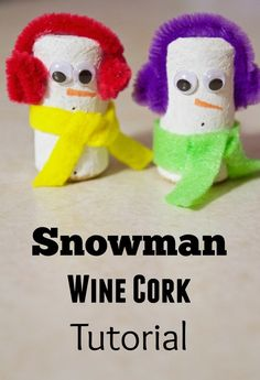 This Snowman wine cork craft tutorial is absolutely perfect for cold winter days indoors with kids! The perfect preschool activity to make for imaginative play and reading buddies! Great incentive in classrooms to keep kids quiet - just sit the snowmen bu Wine Cork Crafts, Wine Bottle Crafts, Wine Bottles, Craft Activities, Preschool Crafts, Crafts For Kids To Make, Kids Crafts, Snow Crafts, Adult Crafts