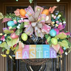 Easter Garland and Wreath Set, Spring Door Decor, Easter Front Door Swag and Wreath Halloween Front Doors, Christmas Front Doors, Christmas Door Decorations, Garland Hanger, Buffalo Check Christmas Decor, Spring Art Projects, Easter Garland, Door Swag, Wreaths And Garlands